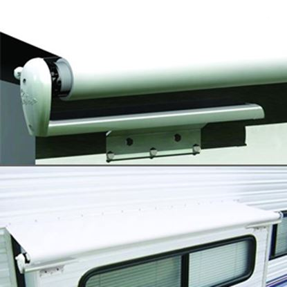 """Picture of Carefree Slideout Cover (TM) Solid White Vinyl 122-129"""" Roof X 42""""Ext Power Slide-Out Awning LH1290042 00-7940"""