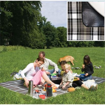 Picture of Carefree  PVC Coated Waterproof Backing Brown & Gray Plaid Picnic Blanket 907001 01-0301