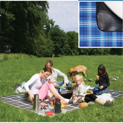 Picture of Carefree  PVC Coated Waterproof Backing Burgundy Plaid Picnic Blanket 907003 01-0302