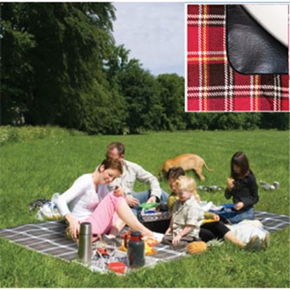 Picture of Carefree  PVC Coated Waterproof Backing Blue Plaid Picnic Blanket 907002 01-0303