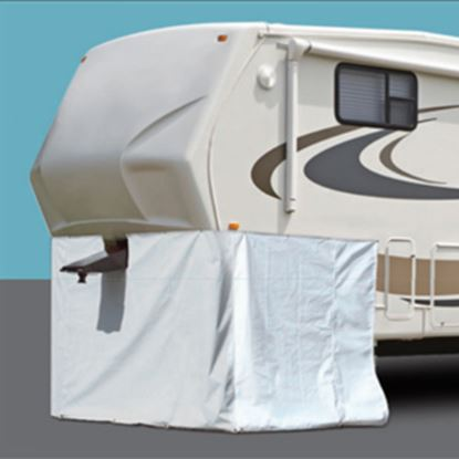"Picture of ADCO  236""L X 64""H Polar White Vinyl Snap Mount Fifth Wheel Skirt 3501 01-1023"