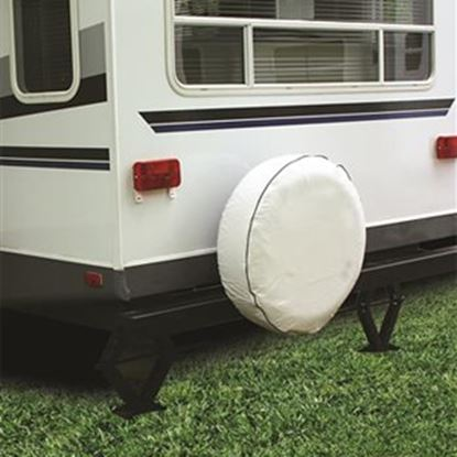 """Picture of Camco  27"""" Size J Arctic White Spare Tire Cover 45346 01-1486"""