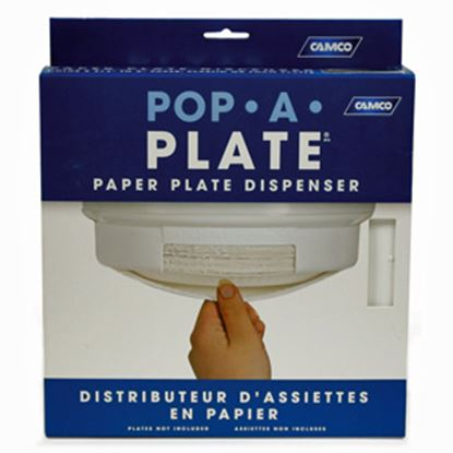 "Picture of Camco Pop-A-Plate White Plastic Plate Holder For 9"" Paper or Plastic Plates 57001 03-0757"