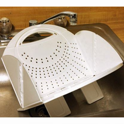 Picture of B&R Plastics  White Plastic Foldable Kitchen Strainer 2721-12 03-0988