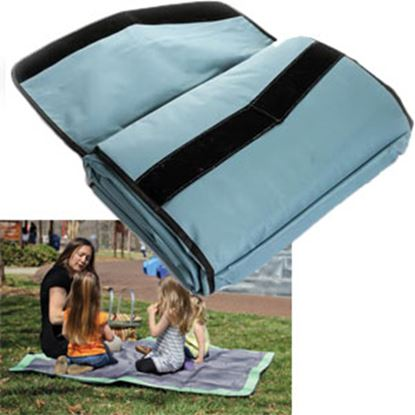 Picture of Camco  Fleece w/ Waterproof Backing Aqua Picnic Blanket 42809 03-1290