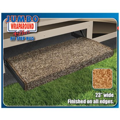 "Picture of Prest-o-Fit Jumbo Wraparound (R) Plus Brown 23"" Entry Step Rug 2-0051 04-0362"