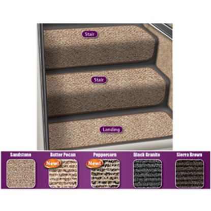 "Picture of Prest-o-Fit Step Huggers (R) 23-1/2""L x 10""W Peppercorn Step Rug for Landing Steps 5-3093 04-0447"