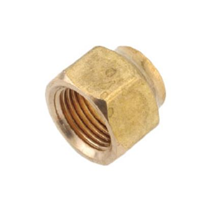 """Picture of Anderson Metal LF 76401S Series 7/16""""-20 Brass Fresh Water Lead Free Short Fitting Nut 704018-04 06-1213"""