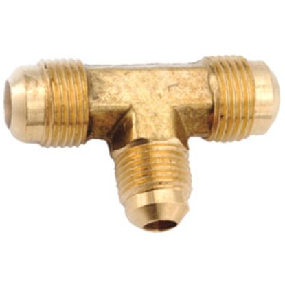 "Picture of Anderson Metal LF 7404 Series 3/8"" OD Tube 45 Deg SAE Flare Brass Fresh Water Tee 704044-06 06-1233"