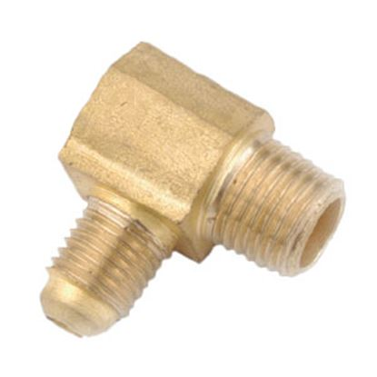 """Picture of Anderson Metal LF 7409 Series 3/8"""" OD Tube 45 Deg SAE Flare x 1/2"""" MPT Brass Fresh Water 90 Deg Elbow 704049-0608 06-1278"""