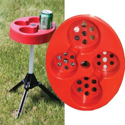"""Picture of Outdoors Unlimited  11""""L X 9""""W X 22""""H Red/Black High Impact Resin Folding Table TGM RED 06-7880"""