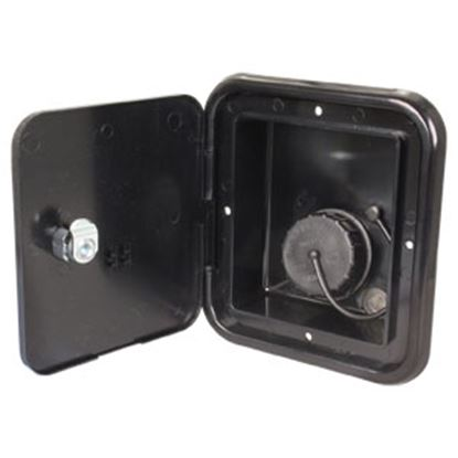 """Picture of JR Products  Black 4-3/4""""RO Lockable Water Hatch Access Door w/Tank Vent Connection JFE13-A 10-0036"""