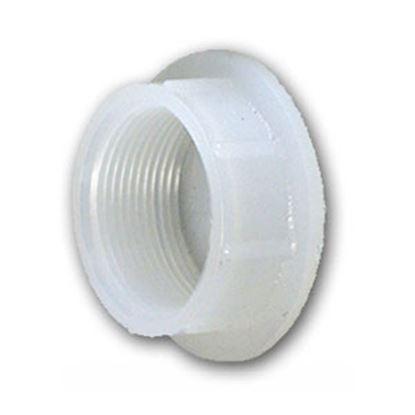 """Picture of Ameri-Kart  White Polyethylene 1-1/4"""" Raised Threaded Holding Tank Fitting 54 10-0367"""