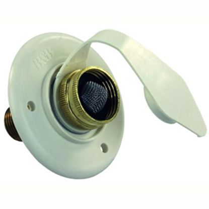 Picture of JR Products  Colonial White Flange Fresh Water Inlet w/Check Valve 160-85-A-16-A 10-0739