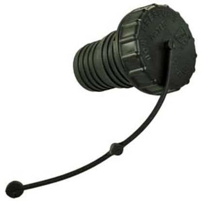 Picture of JR Products  Black Bayonet Style Fresh Water Inlet Cap w/Strap & Spout 222/224BK-A 10-0792