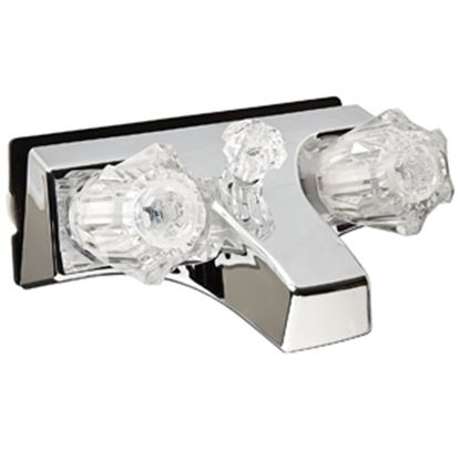 """Picture of Utopia  Chrome w/2 Clear Knob 4"""" Lavatory Faucet 20351207 10-1432"""