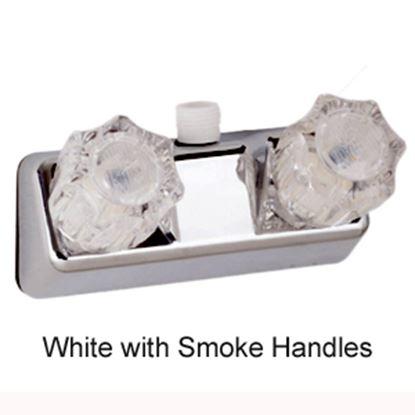 "Picture of Lasalle Bristol  White w/2 Smoked Knob 4"" Lavatory Faucet 20354RW21 10-1437"
