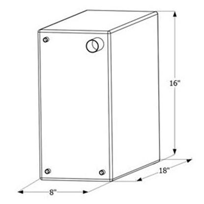 """Picture of ICON  18"""" x 16"""" x 8"""" 10 Gal Fresh Water Tank w/ Fittings 12465 10-1613"""