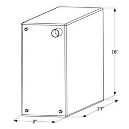 """Picture of ICON  24"""" x 16"""" x 8"""" 12 Gal Fresh Water Tank w/ Fittings 12466 10-1614"""