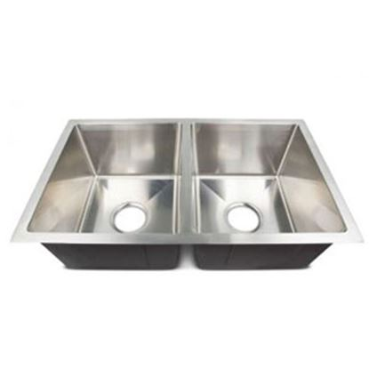 """Picture of Better Bath  Double Bowl 27""""W X 16""""L X 7""""D Square Stainless Steel Sink 385314 10-1955"""