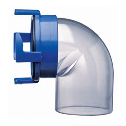 Picture of Prest-o-Fit Blue Line (R) Clear Four Hook Bayonet 90Deg Sewer Hose Connector 1-0021 11-0222
