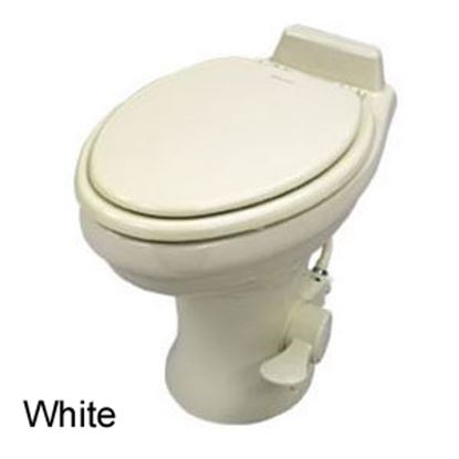 "Picture of Dometic 320 Series White 14"" Pedal Flush Ceramic Permanent Toilet 302321681 12-0048"