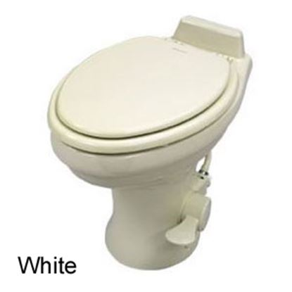 "Picture of Dometic 320 Series White 14"" Pedal Flush Ceramic Permanent Toilet w/ Hand Sprayer 302321781 12-0050"