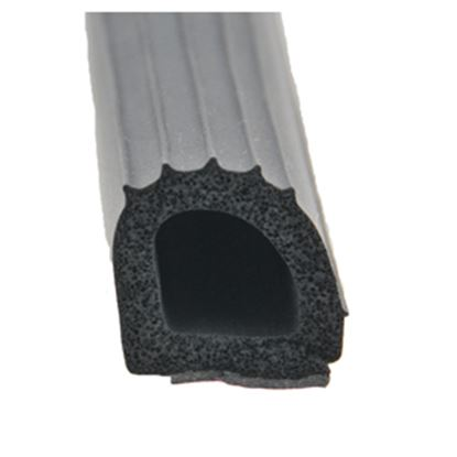 "Picture of AP Products  Black 1""W x 1""H x 50'L Ribbed Foam D Seal w/ Hats Red Tape 018-206 13-1048"