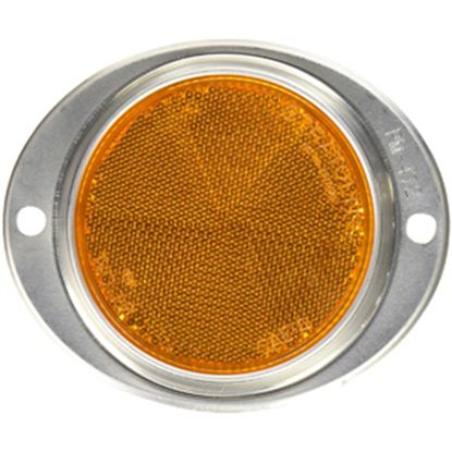 """Picture of Peterson Mfg.  3"""" Round Amber Screw Mount Reflector w/ Aluminum Housing V472A 18-0380"""