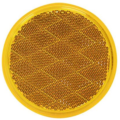 "Picture of Peterson Mfg. Quick Mount 3-3/16"" Round Amber Stick-On Reflector V475A 18-0384"