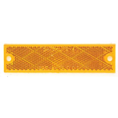 "Picture of Peterson Mfg.  4-3/8""x1-1/8"" Rectangular Amber Screw Mount Reflector V487A 18-0547"