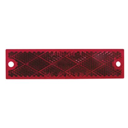 "Picture of Peterson Mfg.  4-3/8""x1-1/8"" Rectangular Red Screw Mount Reflector V487R 18-0548"