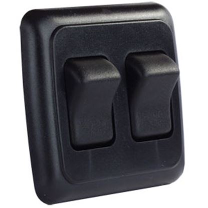 Picture of JR Products  Black 125-250V/ 16A SPST Double Rocker Switch w/ Bezel 12235 19-0159