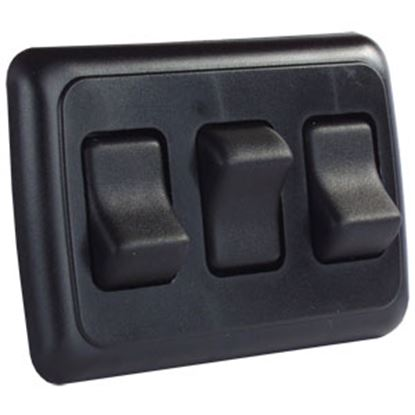 Picture of JR Products  Black 125-250V/ 16A SPST Triple Rocker Switch w/ Bezel 12245 19-0160