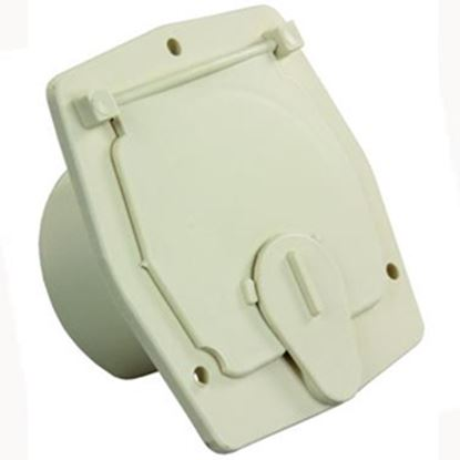 """Picture of JR Products  Colonial White 2-27/32""""RO Square Cable Hatch Access Door S-27-14-A 19-0195"""