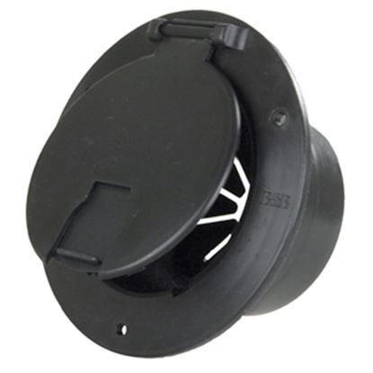 """Picture of JR Products  Black 3-1/2""""RO Round Lockable Cable Hatch Access Door w/Back 541-3-A 19-0210"""