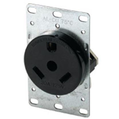 Picture of Cooper Wire  Black 125V/ 30A Single Flush Mount Receptacle 1263-BOX 19-0400