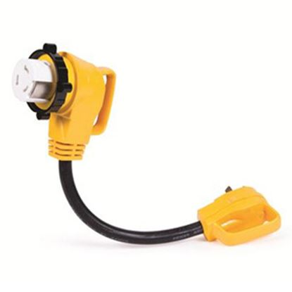 Picture of Camco Power Grip (TM) 30M/50F 90 Deg Locking Power Cord Adapter 55582 19-1382