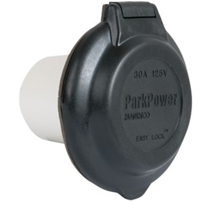 Picture of Marinco  Black 125V/ 30A Indoor/ Outdoor Single Receptacle 304EL-BRV.BLK 19-1689