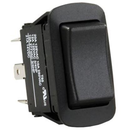 Picture of JR Products  Black 125V/ 20A DPDT Rocker Switch 13855 19-2011