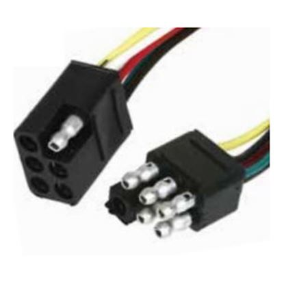 """Picture of Camco  6-Way Flat Trailer Connector w/ 12"""" L Lead Wire 64860 19-7585"""