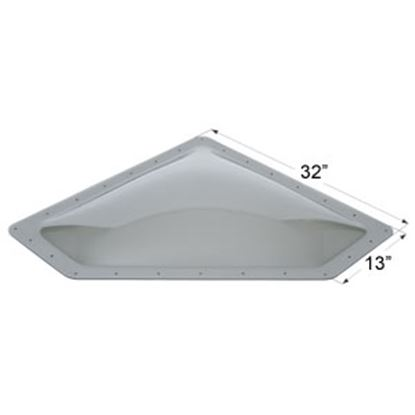 """Picture of Icon  4""""H Bubble Dome Neo Angle Smoke PC Skylight w/13"""" X 32"""" Flange 12112 22-0036"""