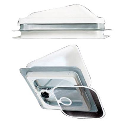 """Picture of Heng's  Smoke 14"""" x 14"""" Jensen Style Roof Vent Lid J7291SM-CR 22-0248"""