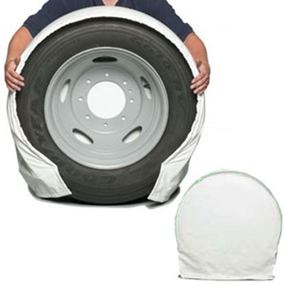 """Picture of CoverCraft SnapRing TireSavers Set of 2 White Vinyl 27""""-29"""" DiaTire Covers ST7001WH 46-0046"""