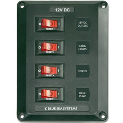 "Picture of Blue Sea BelowDeck (TM) 45A 12VDC 4-1/4""W X 5.7""H X 1-3/4""D Power Distribution Box 4350 69-0573"