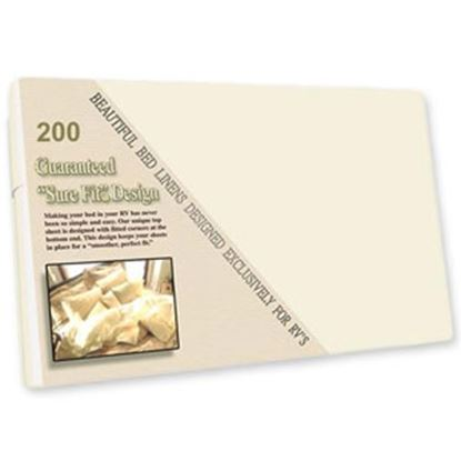 """Picture of Custom Recreation  French Vanilla 200 TC 60""""x 75"""" Short Queen Bed Sheet RV60X75/FV 69-1183"""