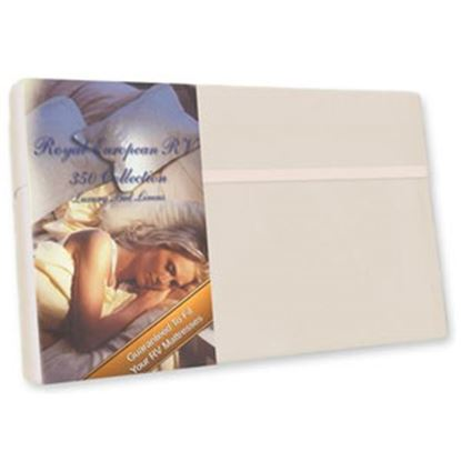 """Picture of Custom Recreation  Satin White 350 TC 76"""" x 80"""" King Bed Sheet RV76X80/SW 69-1193"""