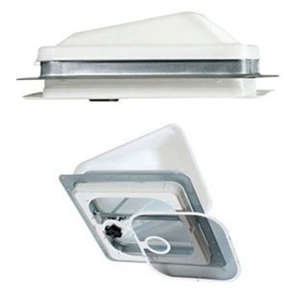 "Picture of Ventline  White 14.25""x14.25"" Polypropylene Frame Roof Vent w/Fan V2094SP-28 71-0020"