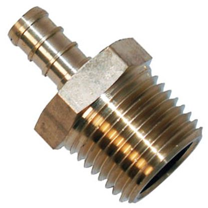 "Picture of BestPEX  1/2"" Hose Barb x 1/2"" MPT Brass Fresh Water Straight Fitting 51122 72-0818"