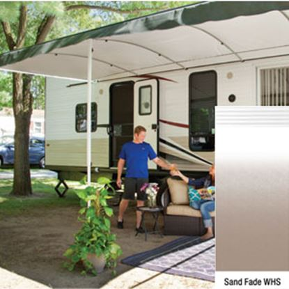 "Picture of Lippert Solera Destination Sand Fade Vinyl 16'L X 9' 8""Ext Patio Awning w/White Solera Shield V000334870 90-2170"